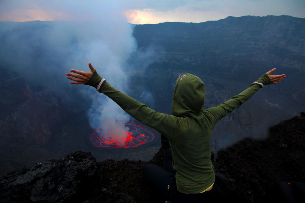 3 Days Mount Nyiragongo volcano hike to reach the summit and see the beautiful lava lake with red glow from the crusted lava